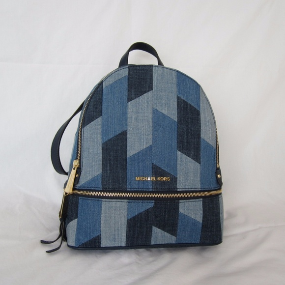 ed7af5c7071f Michael Kors Bags | Rhea Mosaic Patchwork Denim Backpack | Poshmark